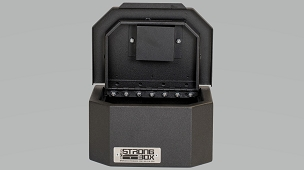 Boss Strongbox Pistol Sized Hinged Flip Top Lockbox With High Security Medeco Lock -7125-7408